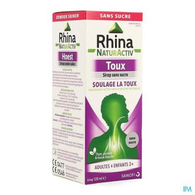 Rhina Natur Activ Hoest Zonder Suiker Siroop 120ml